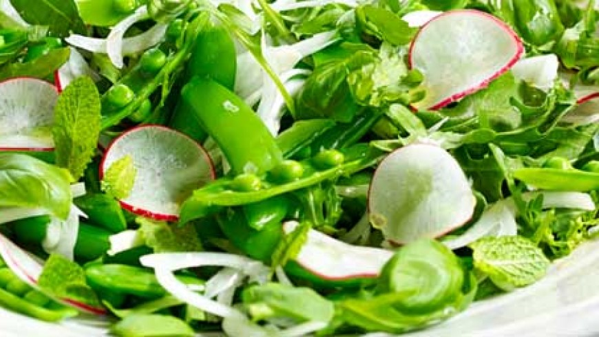 Mint and Pea Salad with Orange Infused Olive Oil