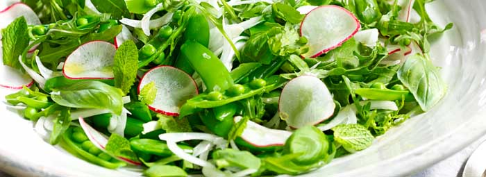 ornage infused olive oil pea and mint salad