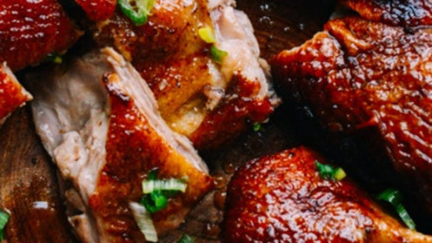 Roasted duck wings with blood plum finishing vinegar
