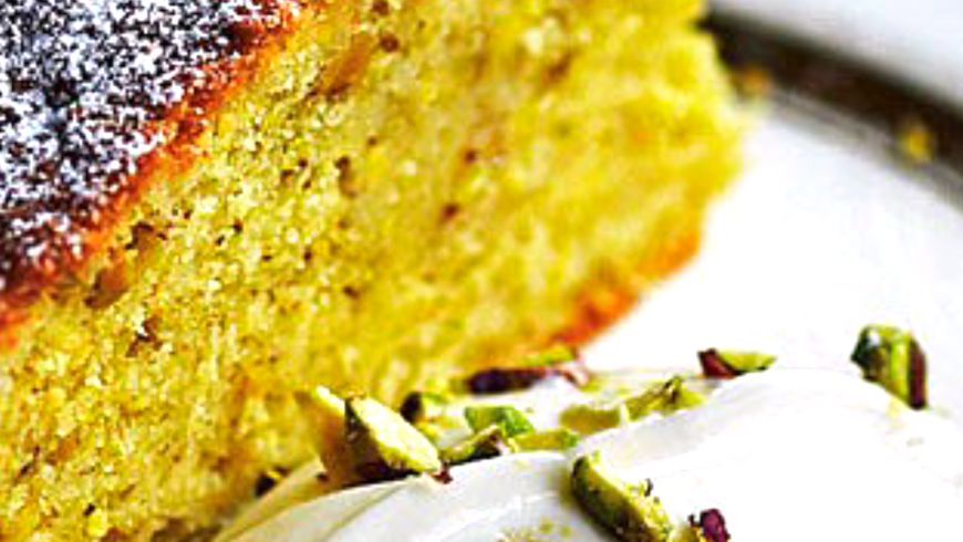 Olive oil, pistachio and cardamom cake