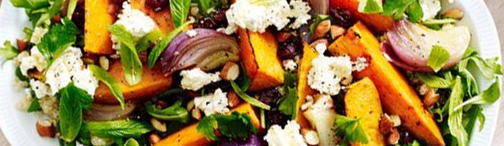 Roasted veggie and quinoa salad with orange dressing